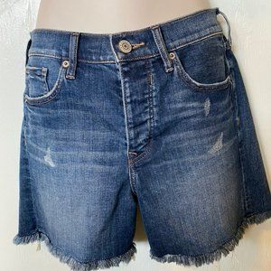 Express Distressed High Rise Midi Denim Shorts